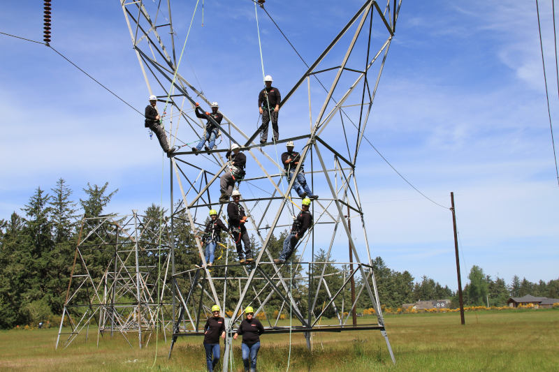 group of people climbing powerline