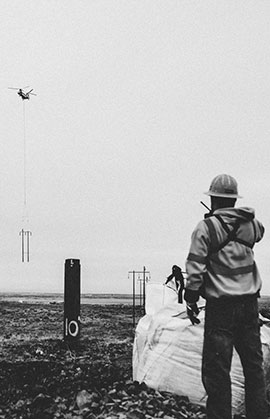 Lineman and helecopter